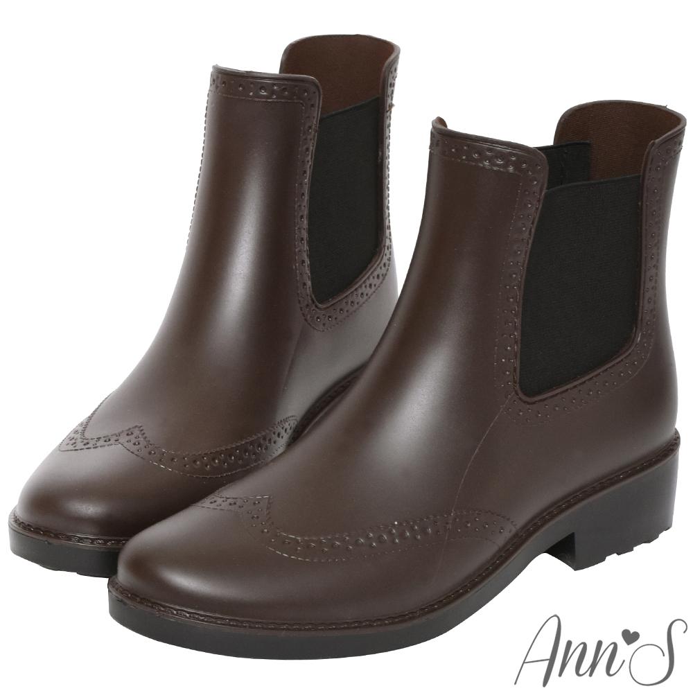 Ann'S沒用的傘-仿皮革質感牛津雕花防水短筒雨靴-咖