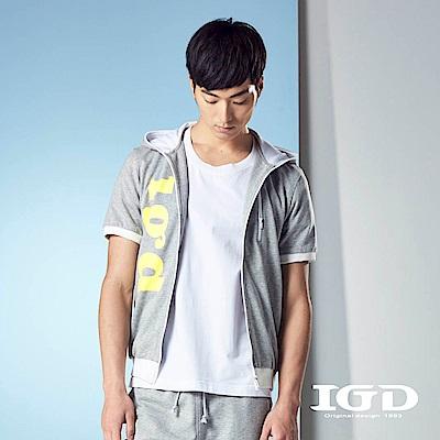 IGD英格麗 休閒百搭短袖運動風格LOGO印花連帽外套-灰色