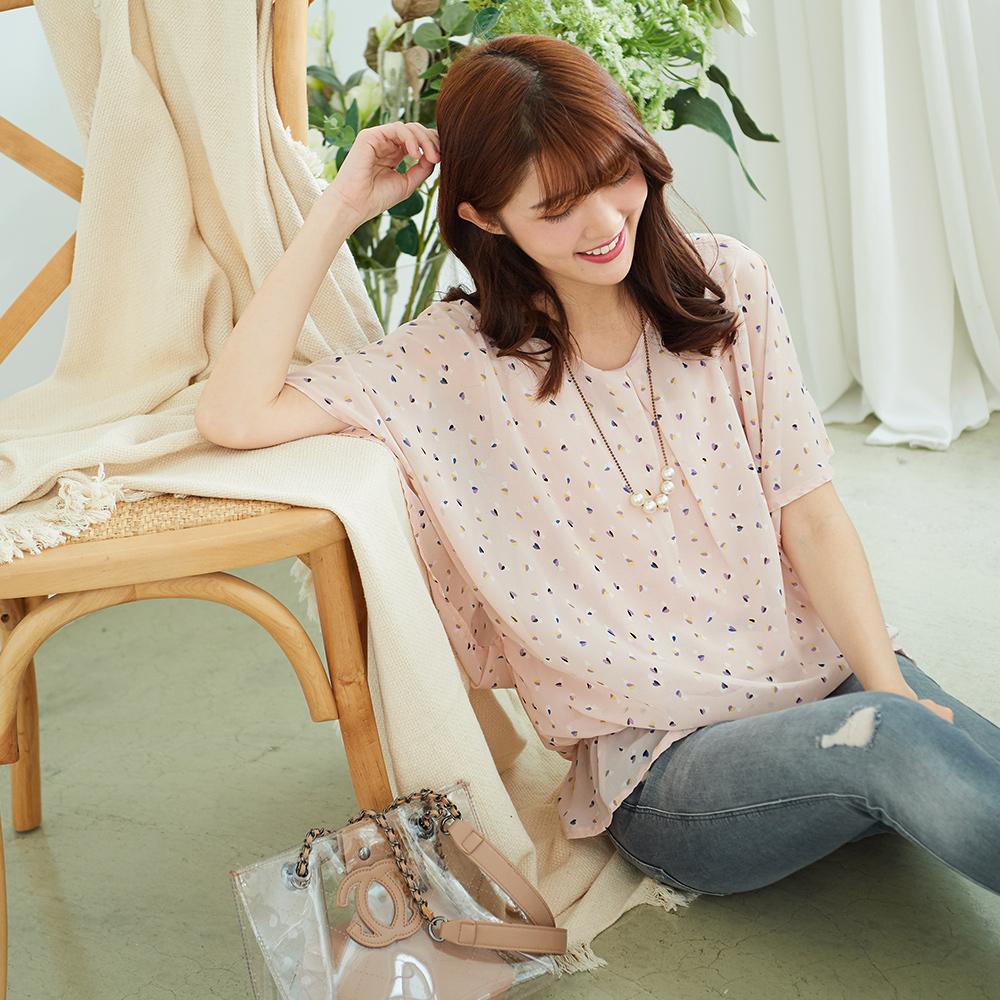 KatieQ 愛心印花雙層雪紡上衣-白色/粉紅色