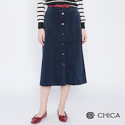 CHICA 復古文藝燈心絨排釦直筒長裙(2色)