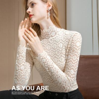 專注內搭-半高領蕾絲內搭長袖T恤性感鏤空上衣(二色S-2XL可選)