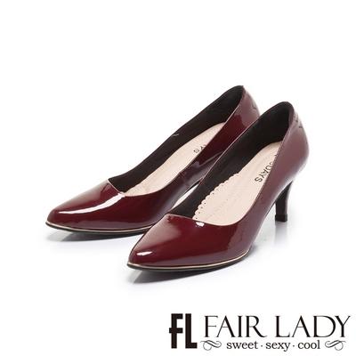 FAIR LADY 7DAYS七日色階完美斜邊尖頭高跟鞋 釉紅