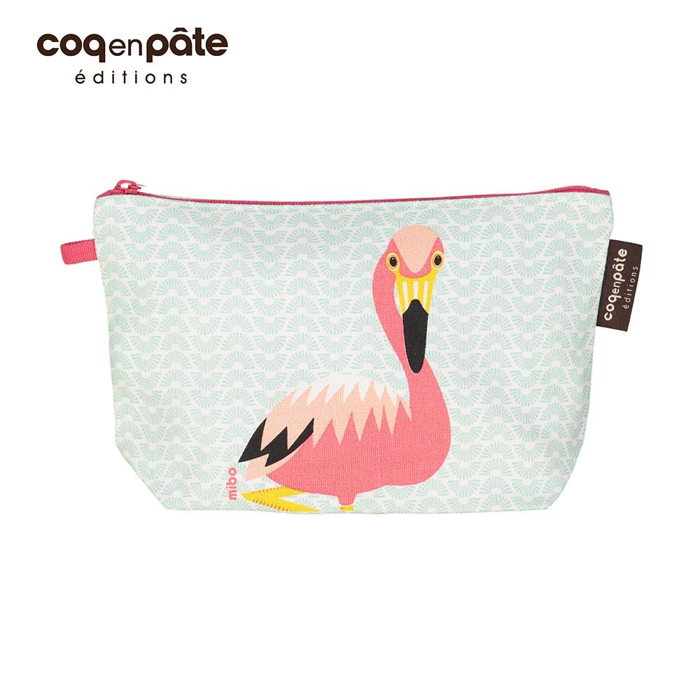 【COQENPATE】法國有機棉無毒環保化妝包 / 筆袋- 畫筆兒的家 - 火鶴