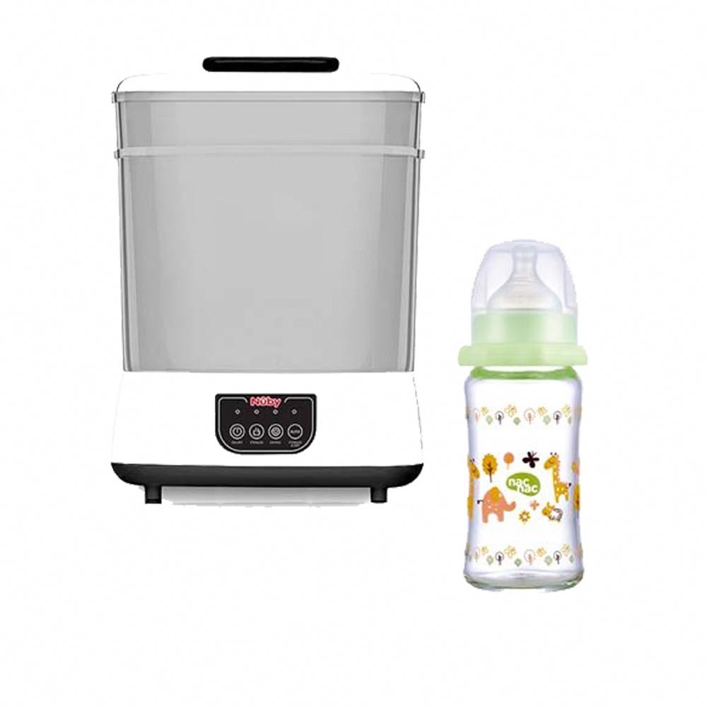 Nuby蒸氣消毒烘乾鍋+nac nac 吸吮力學寬口耐熱玻璃奶瓶(240ml)