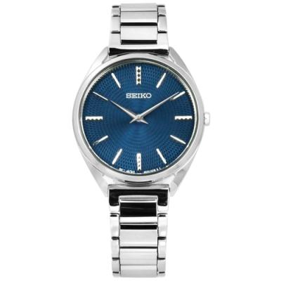 SEIKO 精工 閃耀 輕薄 礦石強化玻璃 日本機芯 不鏽鋼手錶-藍色/32mm