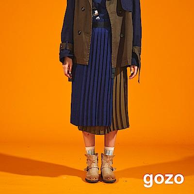 gozo 金屬環腰帶拼色百褶裙(軍綠)