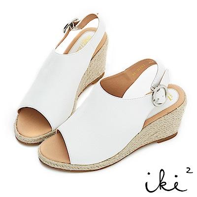 iki2 夏日知性復古微甜魚口楔型跟鞋-白
