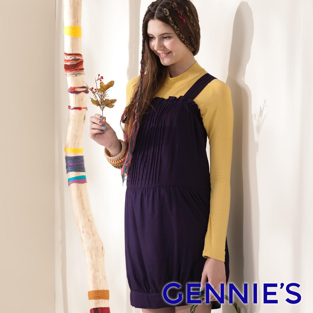 【Gennie's奇妮】可愛小花苞褶飾綁帶孕婦背心洋裝-紫(G2401)