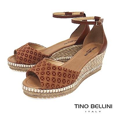 Tino Bellini 巴西進口幾何壓紋雙色麻編楔型魚口涼鞋 _ 棕