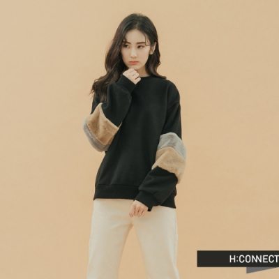 H:CONNECT 韓國品牌 女裝 - 絨毛拚接造型上衣 - 黑
