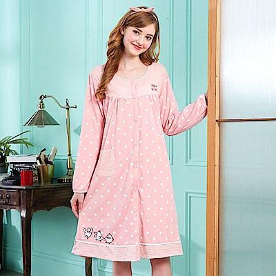 睡衣 點點小鴨 針織棉長袖連身睡衣(R75206-2粉色) 蕾妮塔塔
