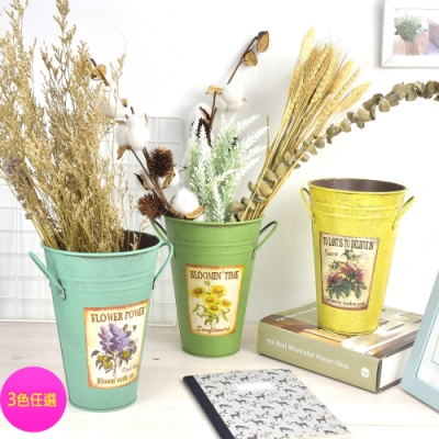 Meric Garden-創意仿舊復古雜貨風鐵藝裝飾花器/鐵桶/花桶_(三色任選)