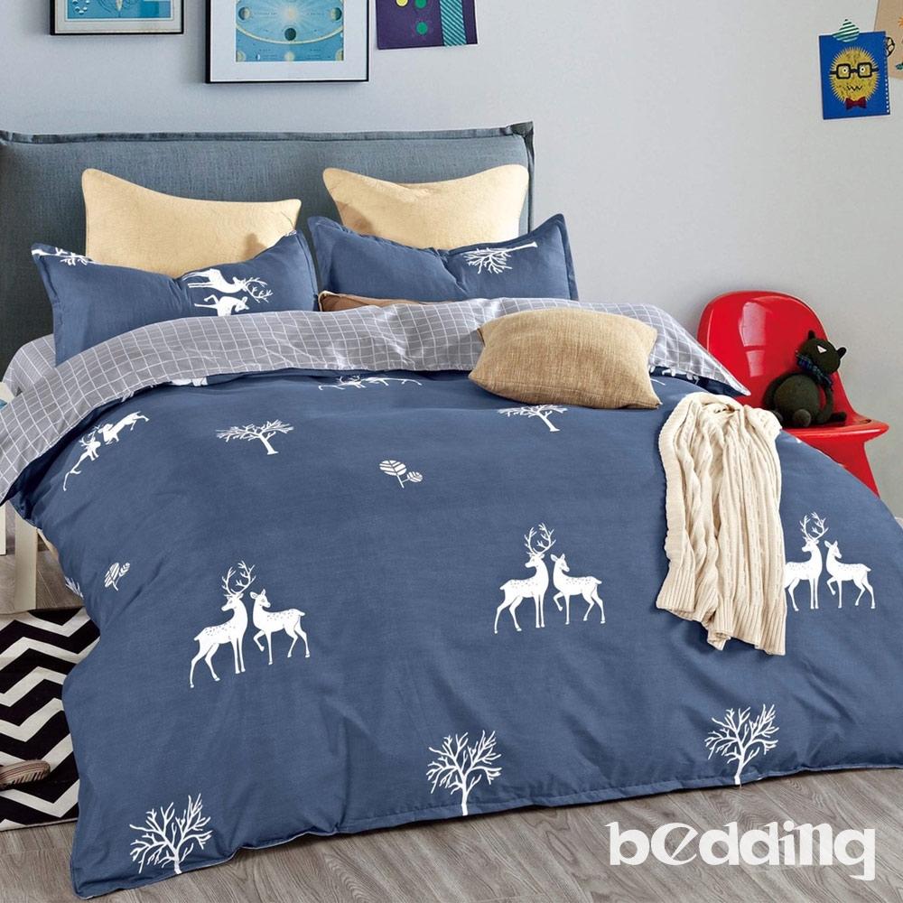 BEDDING-活性印染-標準5尺雙人薄式床包枕套三件式-麋鹿森林