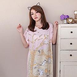 睡衣 牛奶絲質短袖連身睡衣(C01-100568櫻花村貓咪野餐) Young Curves
