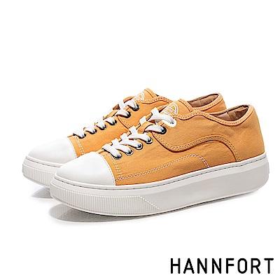 HANNFORT CAMPUS PLATFORM復古車線帆布厚底休閒鞋-女-黃