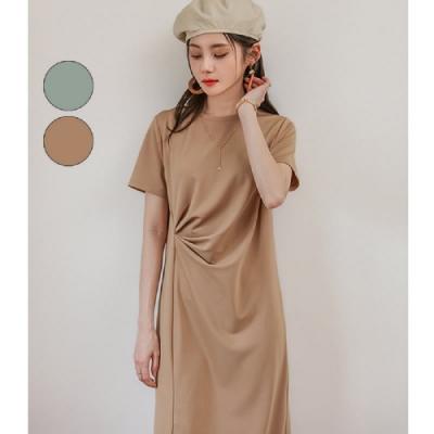 連身裙 優雅抓摺開叉短袖洋裝PV9313-創翊韓都