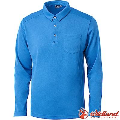 Wildland 荒野 0A62620-45地中海藍 男POLO本布領保暖衣