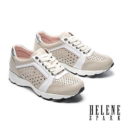 休閒鞋 HELENE SPARK 時尚運動風打洞牛皮綁帶厚底休閒鞋-米