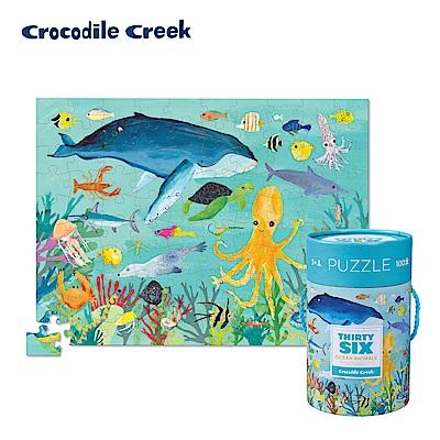 美國Crocodile Creek 生物主題學習桶裝拼圖-海洋生物