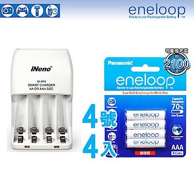 Panasonic-eneloop低自放鎳氫充電電池(4號4入+iNeno充電器)