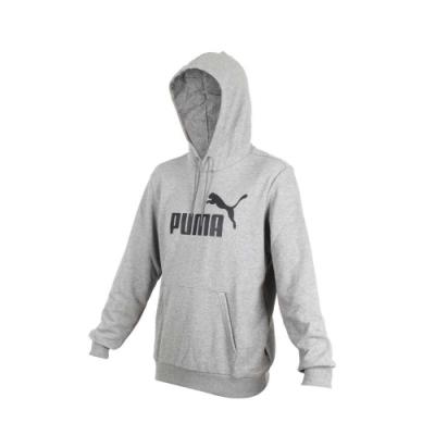 PUMA 男基本系列長袖連帽T恤-慢跑 帽T 灰黑