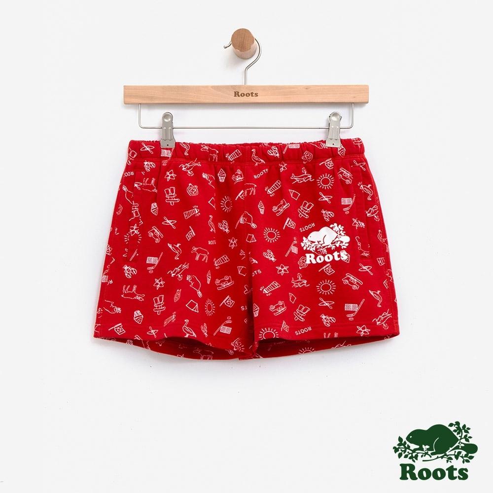 女裝Roots加拿大系列-滿版印花短褲-紅
