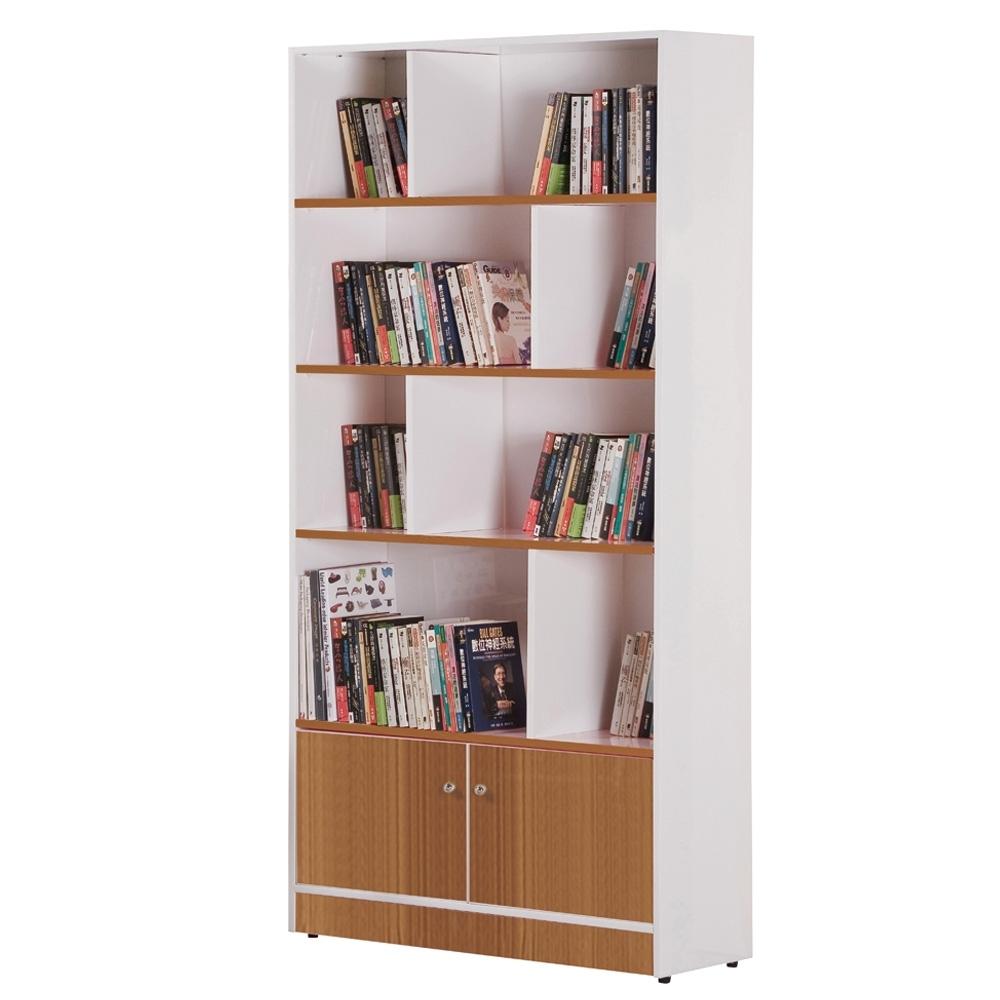 文創集 海卡森環保3尺塑鋼二門開放式書櫃(六色可選)-90x40x180cm免組