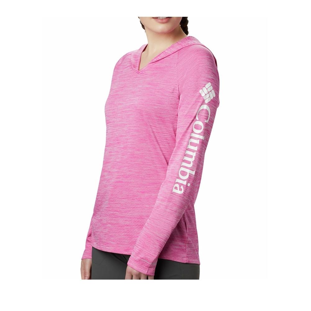 Columbia 哥倫比亞 女款- 防曬30快排長袖連帽排汗衫-桃紅  UAR13840FC