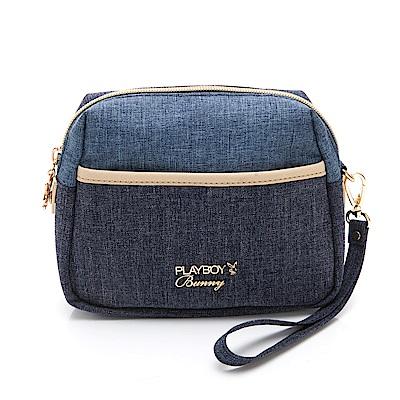 PLAYBOY-  化妝包附手挽帶 單寧世代系列 -藍色