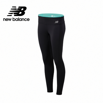 【New Balance】側邊色塊緊身褲_女性_黑綠配色_WP11218SUJ