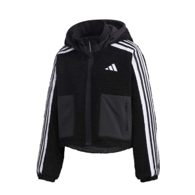 adidas 外套 URBAN BOA 運動休閑 女款 愛迪達 三線 連帽 絨毛 短版 穿搭 黑 白 GM1426