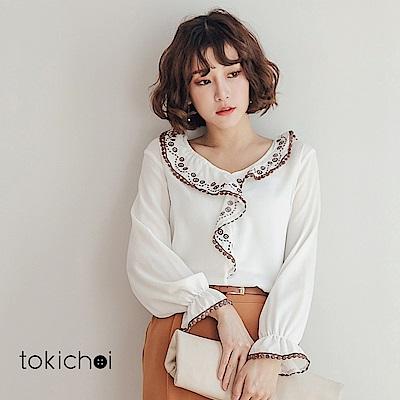東京著衣 繡花圖騰荷葉邊V領花苞袖縮口上衣-S.M(共一色)