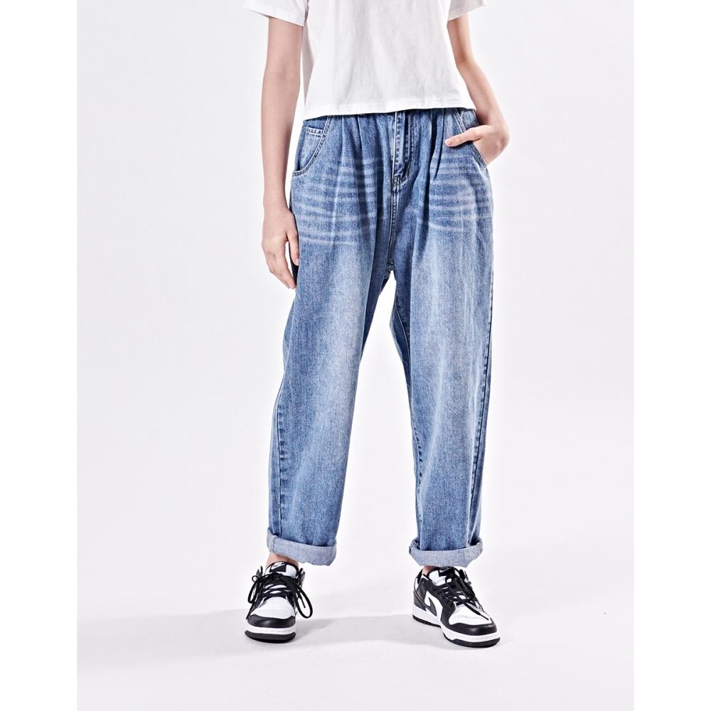NAVY-寬鬆錐形牛仔褲-女【B2NA075】