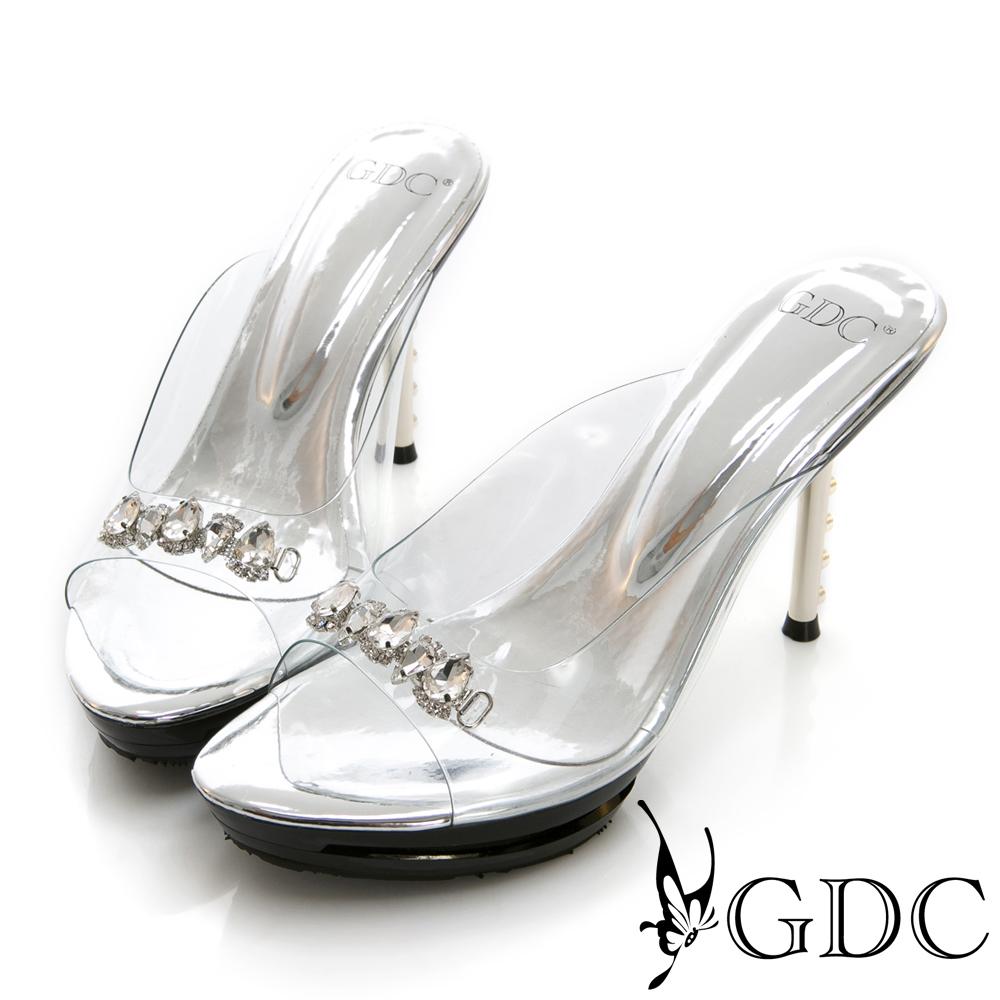 GDC-貴氣玻璃公主璀璨水鑽中跟拖鞋-銀色