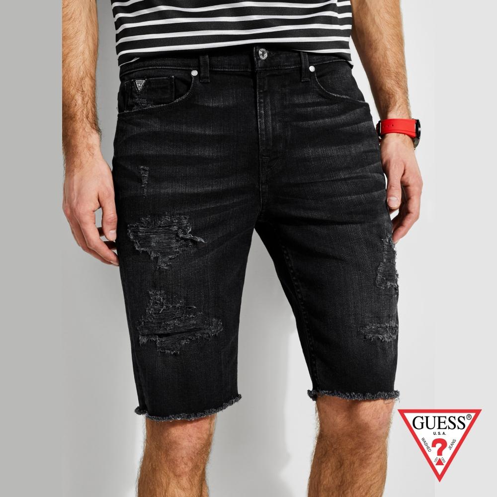 GUESS-男裝-刷破造型牛仔短褲-黑 原價2790