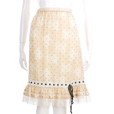 RED VALENTINO 米黃色點點蕾絲邊及膝裙