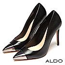 ALDO 原色真皮幾何金屬拼接鞋面尖頭細高跟鞋~尊爵黑色