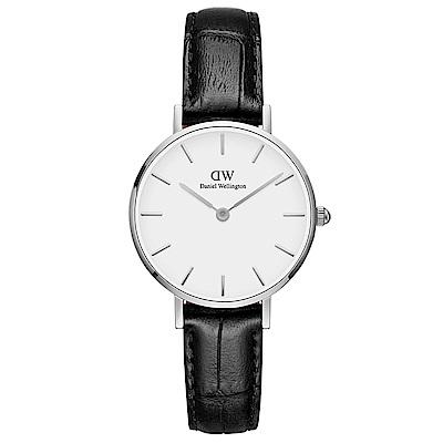 DW Daniel Wellington 雷丁學院風黑色壓紋皮帶石英腕錶-銀框/28mm