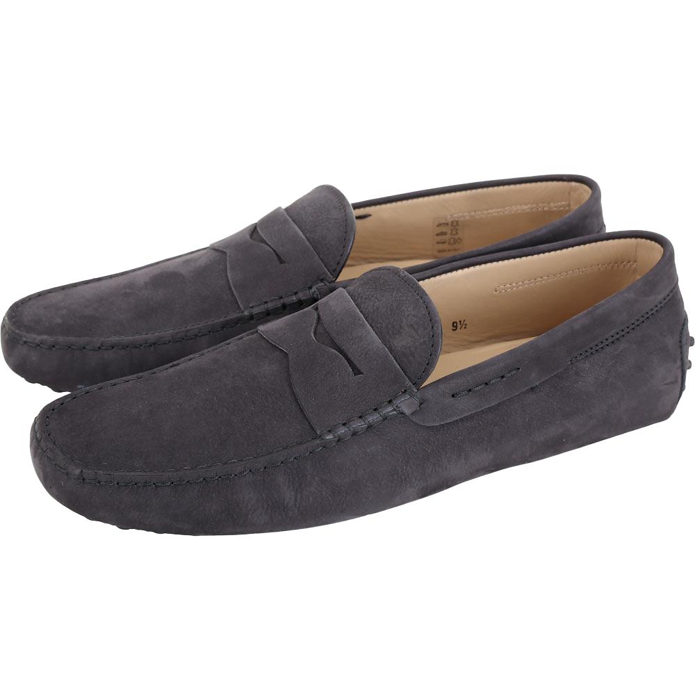 TOD'S 經典暗礦藍麂皮豆豆樂福鞋(男鞋/9.5號)