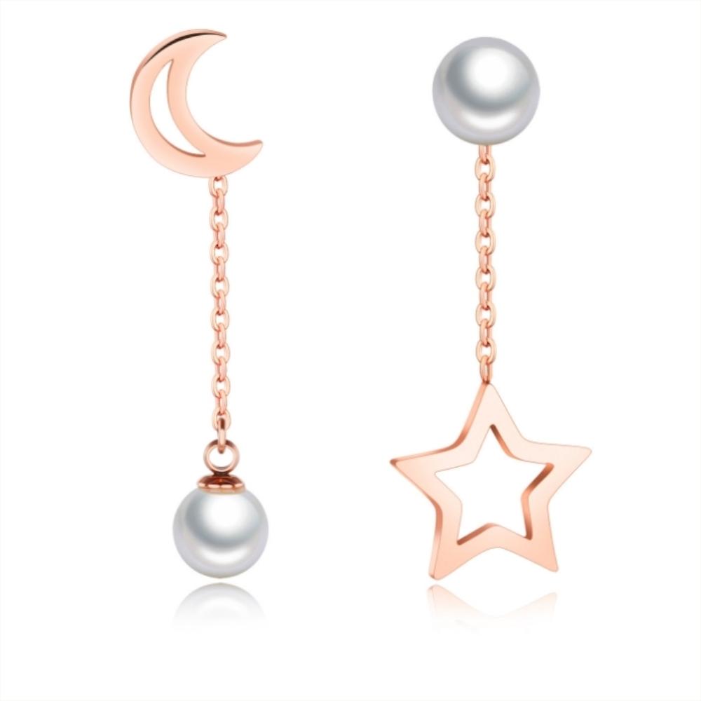 I-Shine-星月-西德鋼-星星月亮珍珠鈦鋼耳線耳環DA16