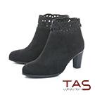 TAS鏤空雕花燙鑽絨布高跟短靴–經典黑