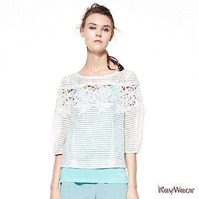 KeyWear奇威名品     鏤空蕾絲花紋上衣-白色