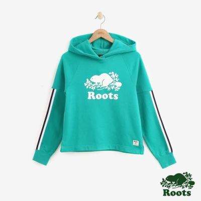 女裝Roots- 飾邊落肩毛圈布連帽上衣-綠