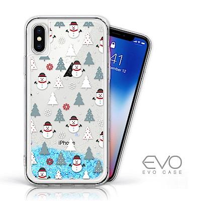 EVO CASE iPhone X/Xs 耶誕特輯藍色閃粉亮片流沙手機軟殼 - 耶誕雪人