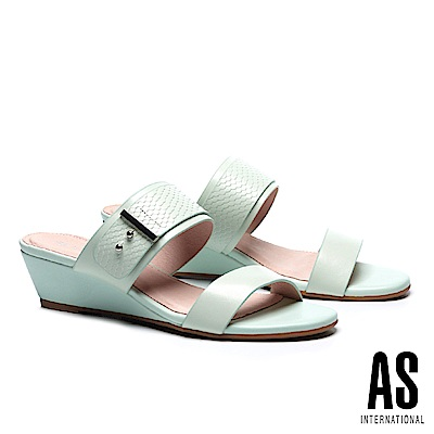 拖鞋 AS 金屬風異材質拼接羊皮楔型低跟拖鞋-綠