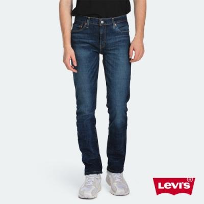 Levis 男款 511低腰修身窄管牛仔褲 深藍刷白 彈性布料