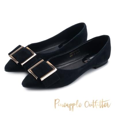 Pineapple Outfitter-FARIS低調姿色金屬方扣尖頭低跟鞋-絨黑色