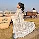 La Belleza刺繡鉤花接紗蕾絲喇叭袖小花鏤空長版罩衫外套