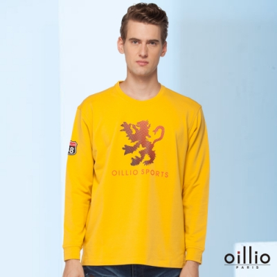 oillio歐洲貴族 長袖圓領吸濕排汗T恤 霸氣印花獅子 舒適穿搭 黃色