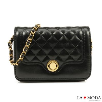 La Moda 熱銷推薦小香風菱格紋肩背斜背鍊帶小方包(黑)